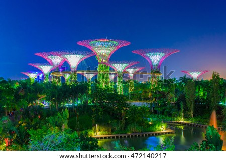Garden By The Bay Night singapore sept 07 night view supertree stock photo 112669877