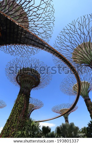 SINGAPORE-May 11: Day view of The Supertrees Grove at Gardens by the Bay on MAY 11, 2014 in Singapore. Spanning 101 hectares, and five-minute walk from Bayfront MRT Station
