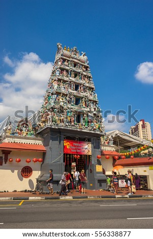 Singapore, Singapore - December 15, 2017 : Hinduism statue of Sri Mariamman temple at China town in Singapore