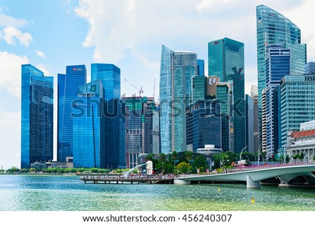 Singapore, Singapore - March 1, 2016: Skyline in Downtown Core at Marina Bay Financial Center in Singapore.