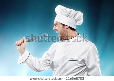 Singing chef against blue background