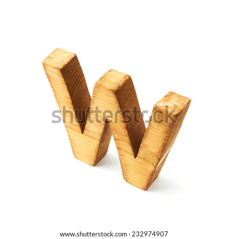 single capital block wooden letter w isolated over the white background