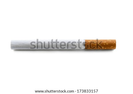 Single cigarette with filter isolated over white