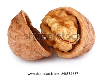 Single Cracked Walnut isolated on white background