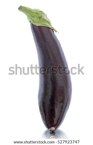 Single eggplant isolated on a white background