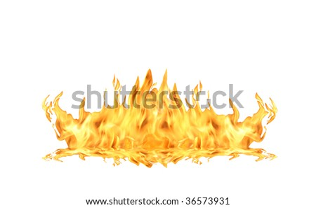 Single fire flame isolated on white background with clipping path