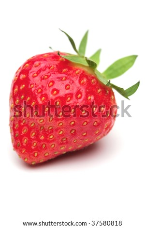Single fresh strawberry on a white background