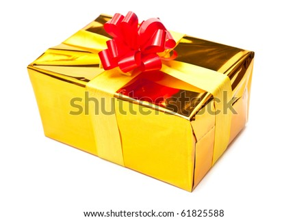 Single golden gift box with ribbon. Isolated on white