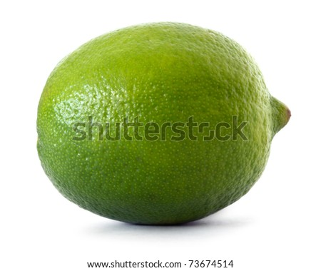 single lime on white background