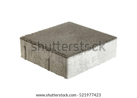 Single pavement brick, isolated. Concrete block for paving