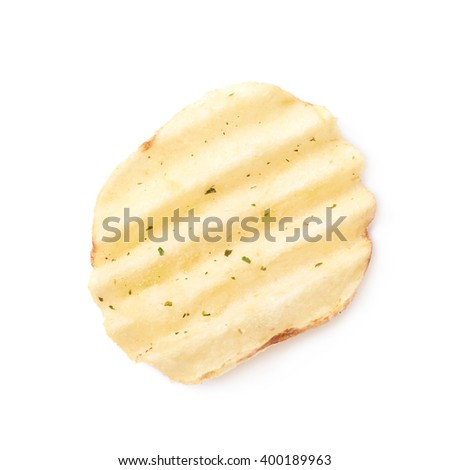 Single potato chip crisp isolated
