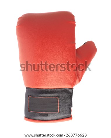 Single red and black boxing glove isolated over the white background