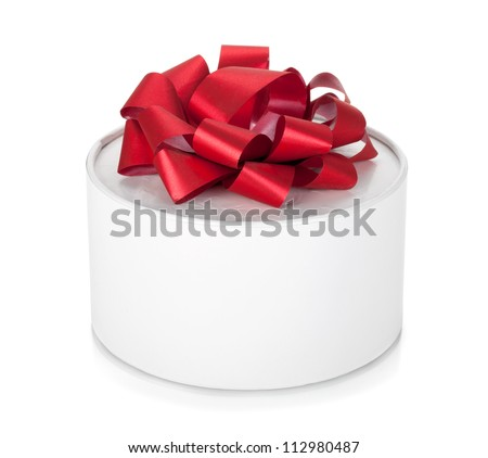 Single round gift box with red ribbon bow. Isolated on white background
