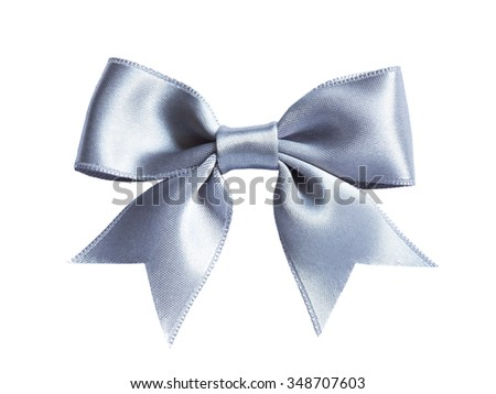single shiny silver ribbon satin bow isolated on white