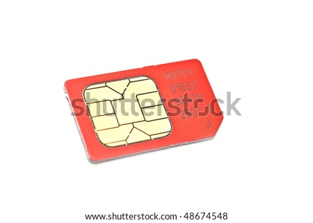 Single simcard isolated on white