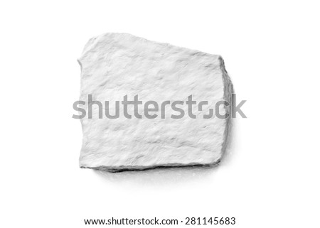 single square rock on white - illustration based on own photo image