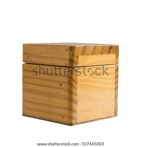 single  wooden box with white background .