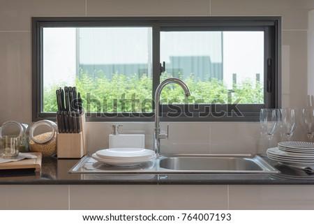 Sink In Kitchen Room, Modern Counter With Sink In Kitchen Room, Interior  Design Concept