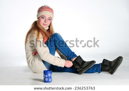 Sitting winter girl