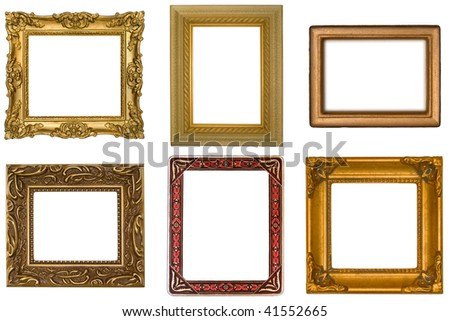 Six Antique Frames on White Background