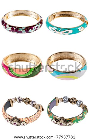 six bangles isolated on the white background