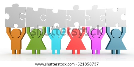 Six people hold puzzle in a line, 3D rendering