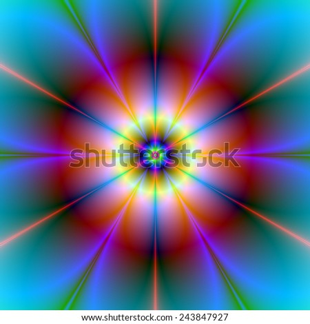 Six Petal Flower in Red and Blue / A digital abstract fractal image with a six petal flower design in red, blue, yellow and turquoise.