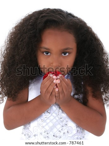 Six year old girl with beautiful long curly black hair, wearing white ...