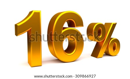 Sixteen percents 3D text, with big golden fonts isolated on white background. Rendered illustration.