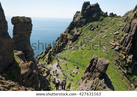 Skellig Michael, UNESCO World Heritage Site, Kerry, Ireland. Star Wars The Force Awakens Scene filmed on this Island. wild atlantic way