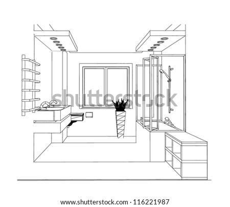 3d single point perspective line drawing stock vector for 3d bathroom drawing
