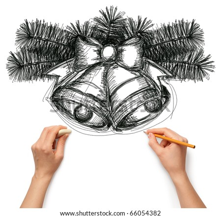 Sketch christmas bells with human hands and pensil - stock photo