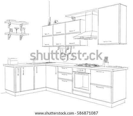Kitchen interior drawing vector illustration stock vector for 3d drawing kitchen