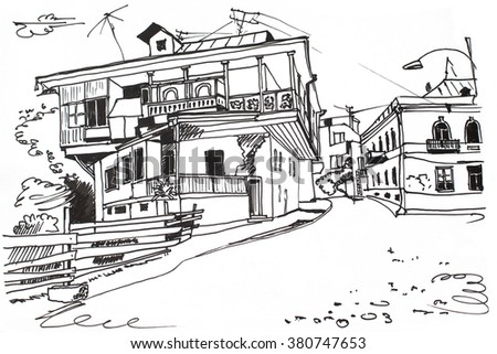 sketch of old house