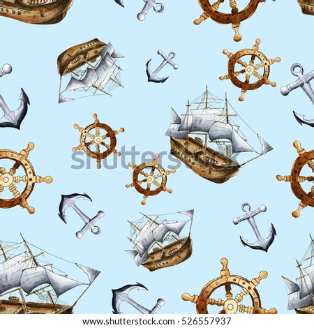 Sketch sea navigation seamless pattern. Hand painted sea life texture with anchor,  ship and steering wheel