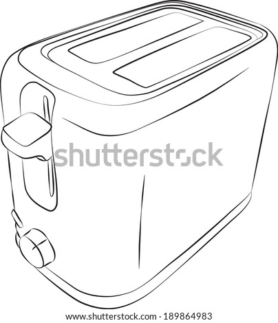 Sketched line drawing of a modern two slice toaster raster version