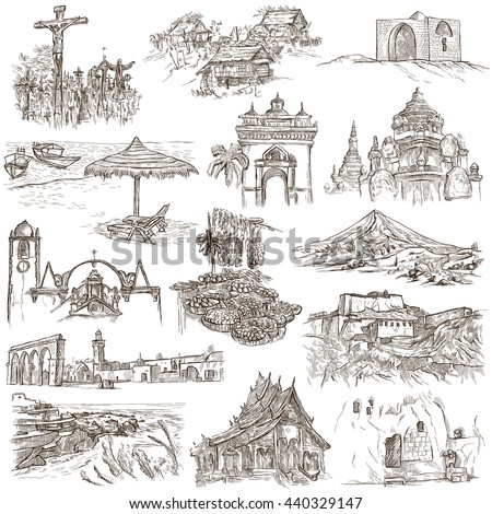 Sketching FAMOUS PLACES AND ARCHITECTURE Set Of People And Natives Collection An