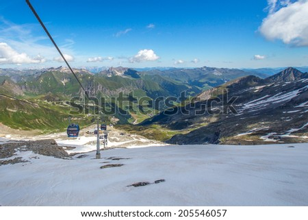 Ski station in high Alps mountains Austria