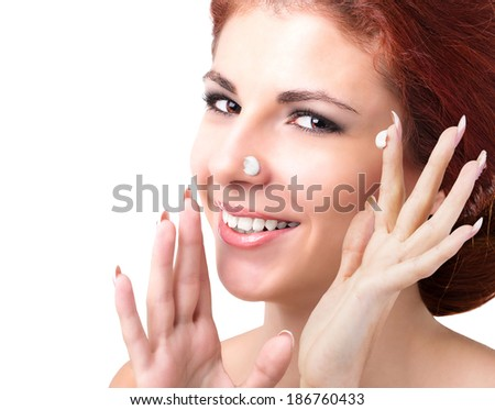 Portrait beautiful young african woman smiling stock photo for A skin care salon