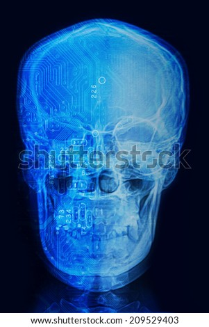 Skull x-rays image with  computer chip and circuit mainboard