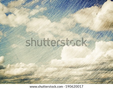 Sky and clouds, grunge scratched background