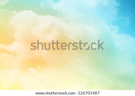 sky and soft cloud with pastel color filter and grunge texture , nature abstract background