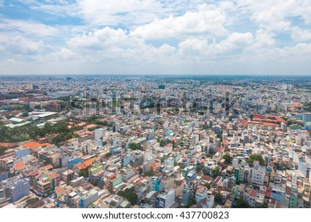 Sky view of Ho Chi Minh city or Saigon , Vietnam .View from airplane