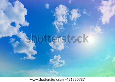 Sky with sun. Blue sky. Gradient Sky. Sky with clouds. Sky and sunrise. Sky and Sunlight