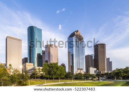 skyline of houston in bright sunset light