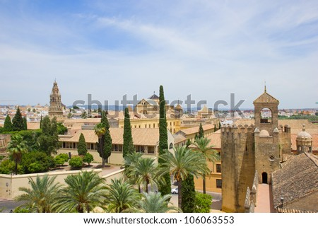 skyline of old town with towers of castle and cathedral, Cordoba, Spain