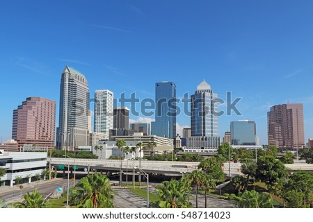 Skyline of Tampa, Florida with skyscrapers and office buildings