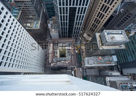 Skyscrapers and buildings in Hong Kong city, China, top view