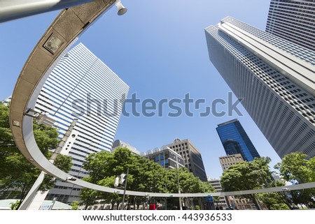 Skyscrapers and clear blue sky fresh green green spring Japan