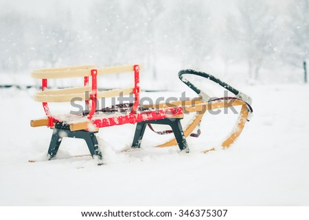 Sledge in The Snow in Winter